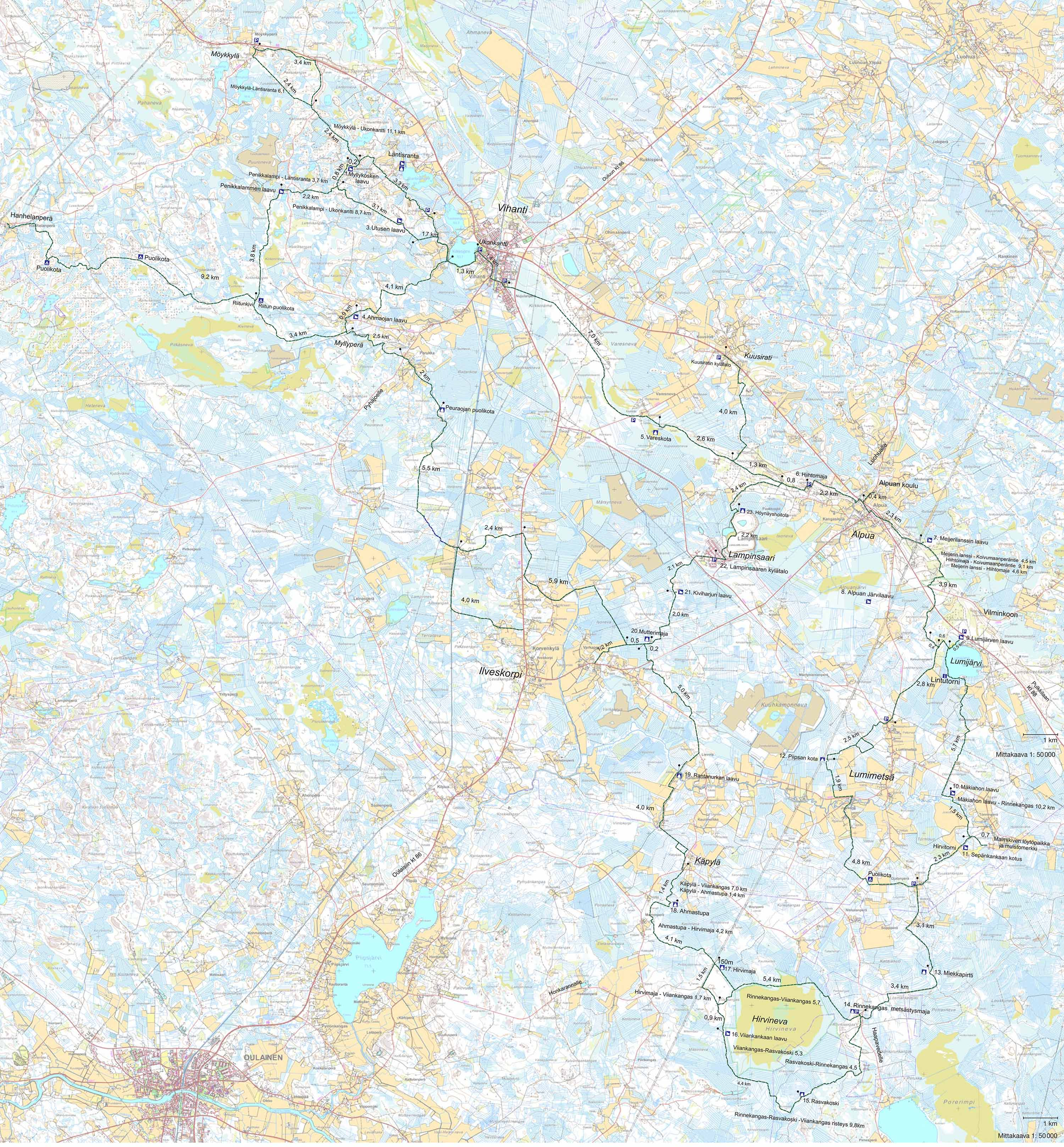 Vihannin Kinttupolut Kartat